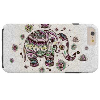 Flores retras y elefante de los colores en colores funda de iPhone 6 plus tough