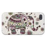 Flores retras y elefante de los colores en colores iPhone 4/4S fundas