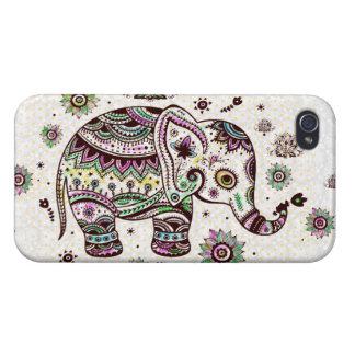 Flores retras y elefante de los colores en colores iPhone 4 carcasa