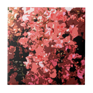 Flores rojas abstractas de Bougainville Azulejo Cuadrado Pequeño