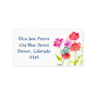Flores rojas azules de la amapola de las etiquetas etiquetas de dirección