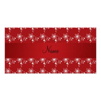 Flores rojas conocidas personalizadas tarjetas personales
