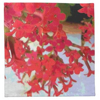 Flores rojas de Kalanchoe Servilleta