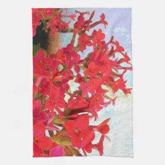 Flores rojas de Kalanchoe Toallas De Mano