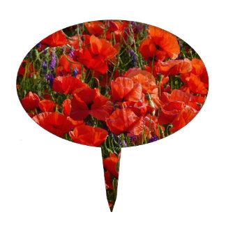 Flores rojas de la amapola figura de tarta