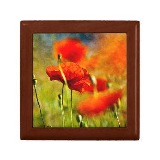 Flores rojas de la amapola caja de regalo