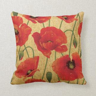 Flores rojas de la amapola cojín