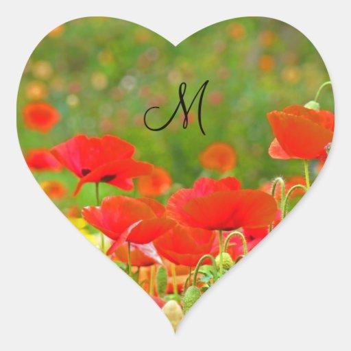 Flores rojas de la amapola de los sellos de las ta calcomanías de corazones
