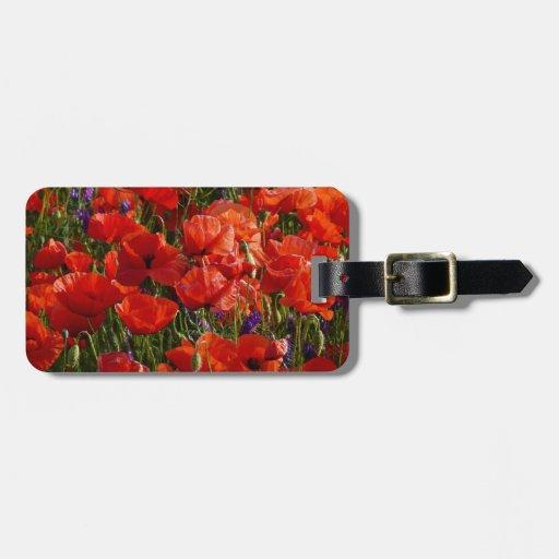 Flores rojas de la amapola etiqueta de equipaje