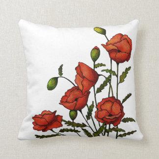Flores rojas de la amapola: Ilustraciones Cojín
