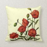 Flores rojas de la amapola: Ilustraciones original Cojin