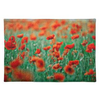 Flores rojas de la amapola mantel