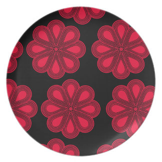 Flores rojas de la amapola plato de comida