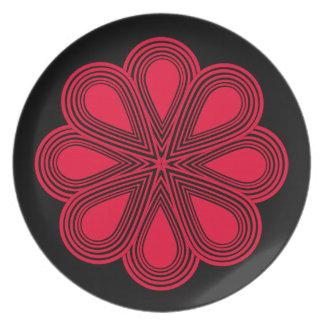 Flores rojas de la amapola plato para fiesta