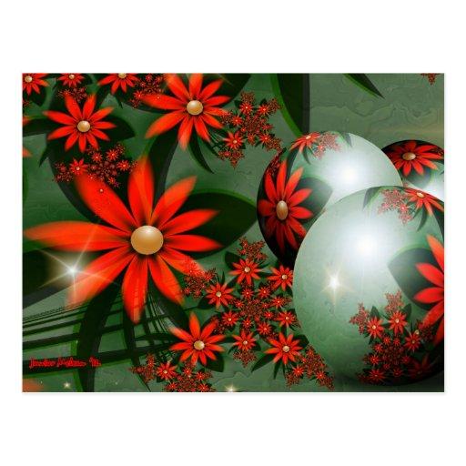 Flores rojas de la luz de las estrellas postal