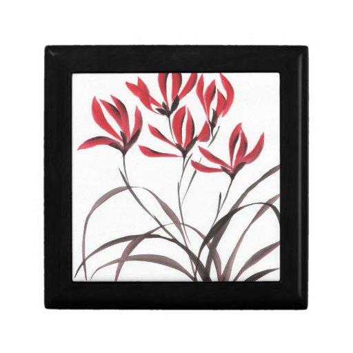 Flores rojas de la montaña joyero cuadrado pequeño