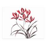 Flores rojas de la montaña tarjetas postales