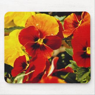Flores rojas de los pensamientos alfombrillas de ratón