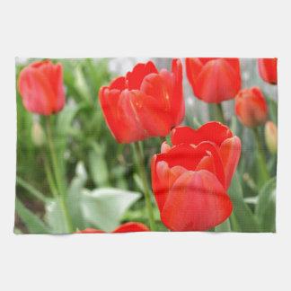 Flores rojas de los tulipanes toallas de mano