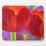 Flores rojas de los tulipanes que pintan arte - mu alfombrilla de raton