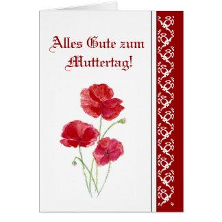 Flores rojas de Muttertag PoppiesGarden del zum de Felicitacion