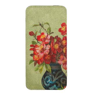 Flores rojas de papel del vintage en florero azul bolsillo para iPhone