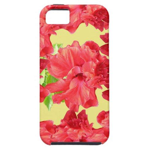 Flores rojas del hibisco iPhone 5 carcasa