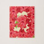 Flores rojas del hibisco rompecabezas con fotos