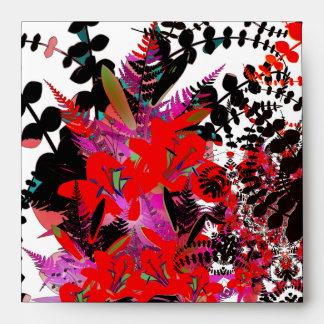 Flores rojas del ramo del sobre