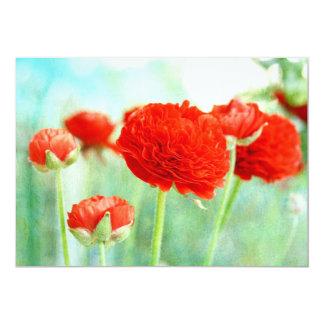 """Flores rojas del ranúnculo invitación 5"""" x 7"""""""