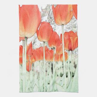 flores rojas del tulipán del estilo artístico. toallas de cocina