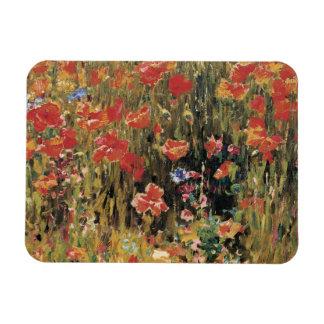 Flores rojas del vintage, amapolas de Roberto Rectangle Magnet