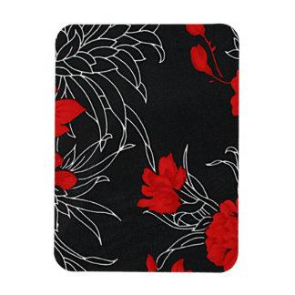 Flores rojas dramáticas en negro imanes flexibles