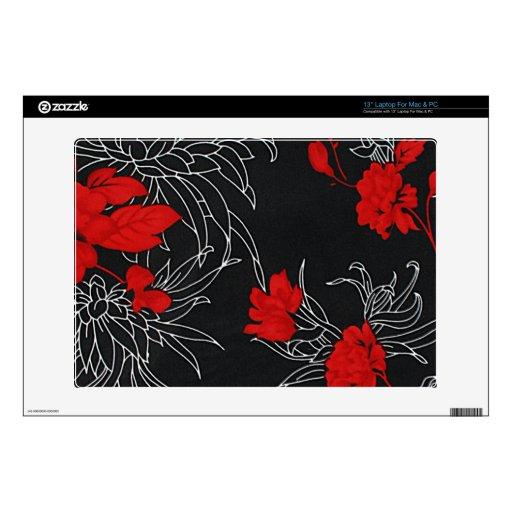 Flores rojas dramáticas en negro calcomanías para portátiles