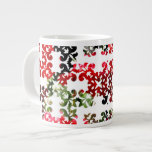 Flores rojas en damasco taza extra grande