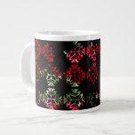 Flores rojas en damasco tazas extra grande