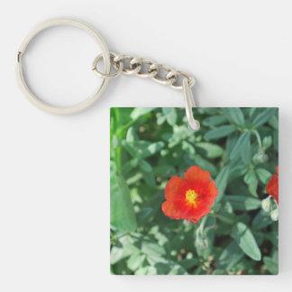 Flores rojas en el verdor - naturaleza maravillosa llavero cuadrado acrílico a doble cara