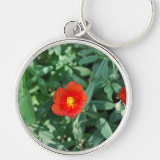 Flores rojas en el verdor - naturaleza maravillosa llavero redondo plateado