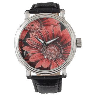 flores rojas, fascinando relojes de pulsera
