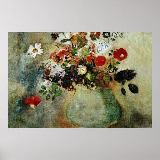 Flores rojas, flores de Odilon Redon Póster