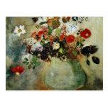 Flores rojas, flores de Odilon Redon Tarjetas Postales
