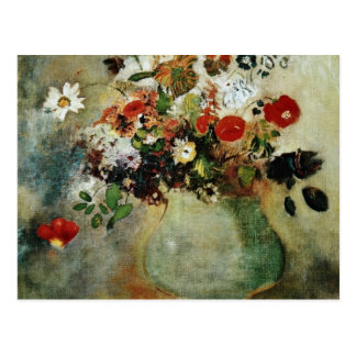 Flores rojas, flores de Odilon Redon Postales