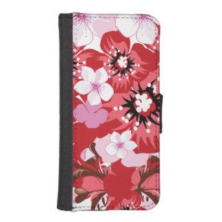Flores rojas fundas billetera de iPhone 5