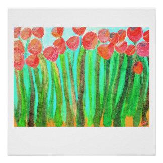 Flores rojas grandes - impresión brillante 20 x 20 perfect poster