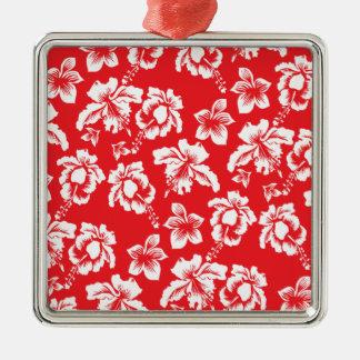 Flores rojas hawaianas adorno cuadrado plateado