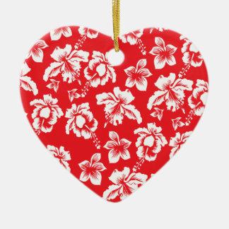Flores rojas hawaianas adorno de cerámica en forma de corazón