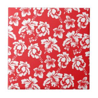 Flores rojas hawaianas tejas