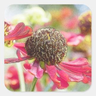 Flores rojas hermosas del Helenium Pegatina Cuadrada