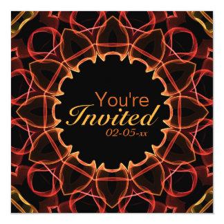 Flores rojas invitación 13,3 cm x 13,3cm
