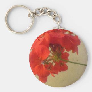 Flores rojas llavero redondo tipo pin